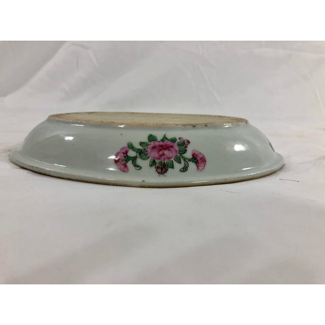 Rose Antique Rose Medialion Oval Plates on Stands - a Pair For Sale - Image 8 of 11