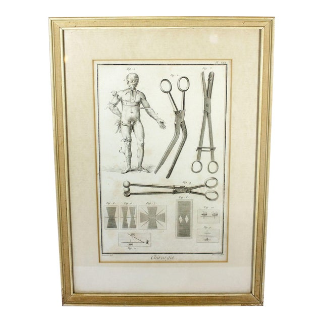 Antique 18th Century Framed Engraving French Encyclopedia of Surgery Medical Diagram Anatomical Surgical Reference For Sale