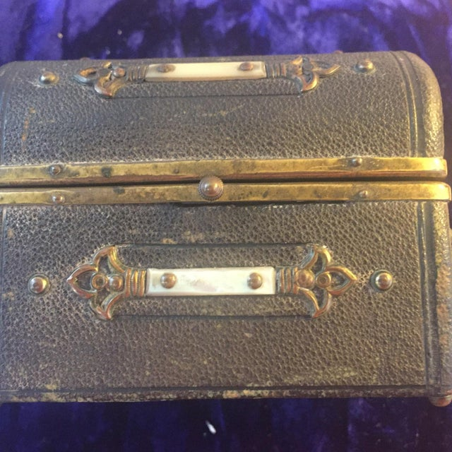 Continental Perfume Shagreen, Mother of Pearl Miniture Trunk With Gilt Filigree Crystal Bottles - 3 Pieces For Sale - Image 9 of 13