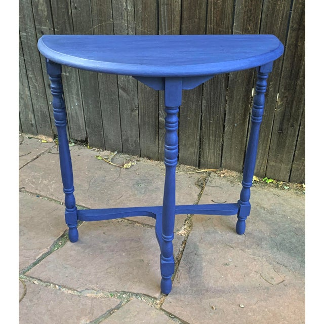 American Transitional Blue Chalk Paint Demi Lune Side Table With Turned Legs For Sale - Image 3 of 13