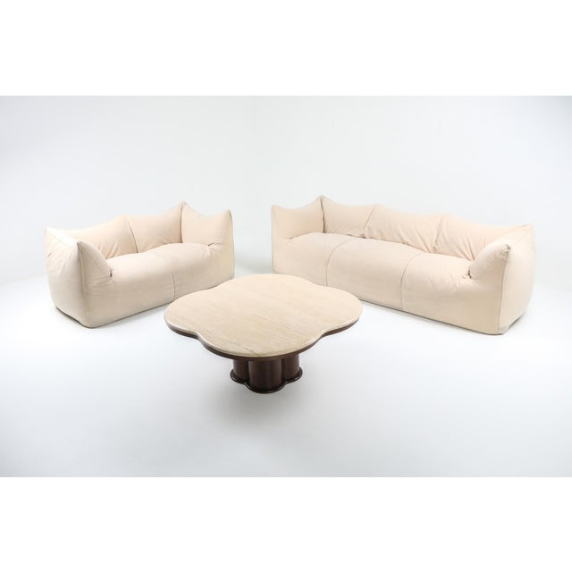 "Mario Bellini 1970s Mario Bellini ""Le Bambole"" Two-Seat Couch in Alcantara For Sale - Image 4 of 11"