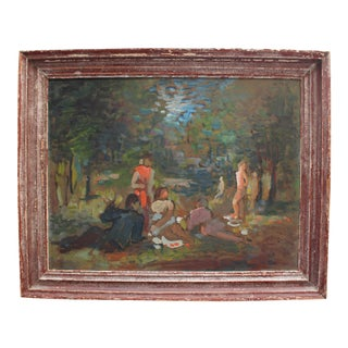 """Mid 20th Century Oil on Artist's Board """"Picnic on the Chiemsee"""" by Karl Gunschmann For Sale"""