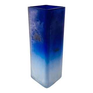 Cenedese Cobalt Blue Pate De Verre Glass Vase For Sale