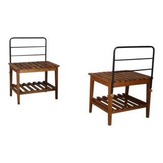 Set of 4 Benches or Luggage Racks, 1950s Attributed Gio Ponti For Sale