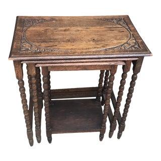 Vintage Barley Twist Nesting Tables - Set of 3 For Sale