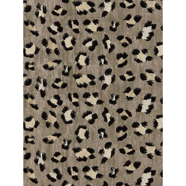 Transitional Scalamandre Broderie Leopard, Ebony on Silver Fabric For Sale - Image 3 of 3