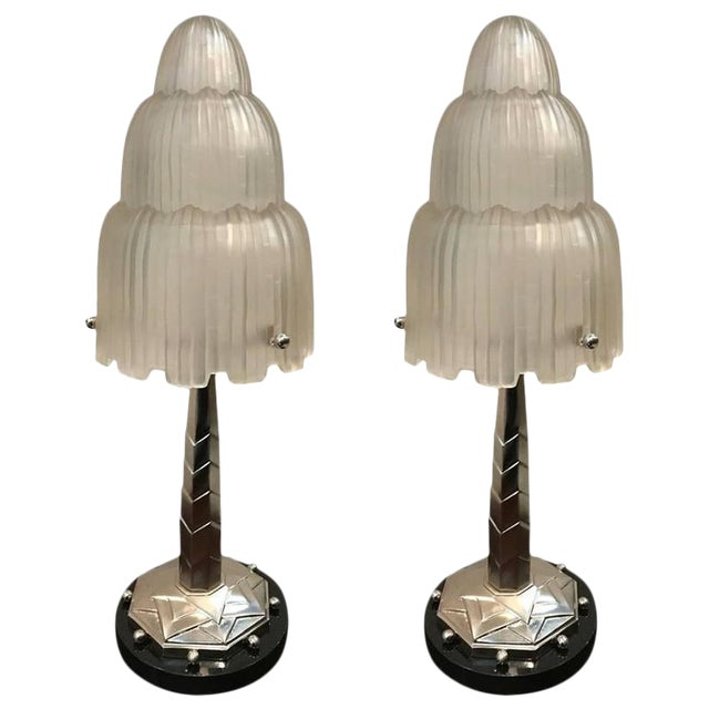 Sabino Signed French Art Deco Table Lamps with Marble Base - A Pair - Image 1 of 10