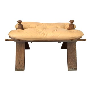 Vintage Camel Stool Ottoman Footstool Boho Decor Wood Brass For Sale