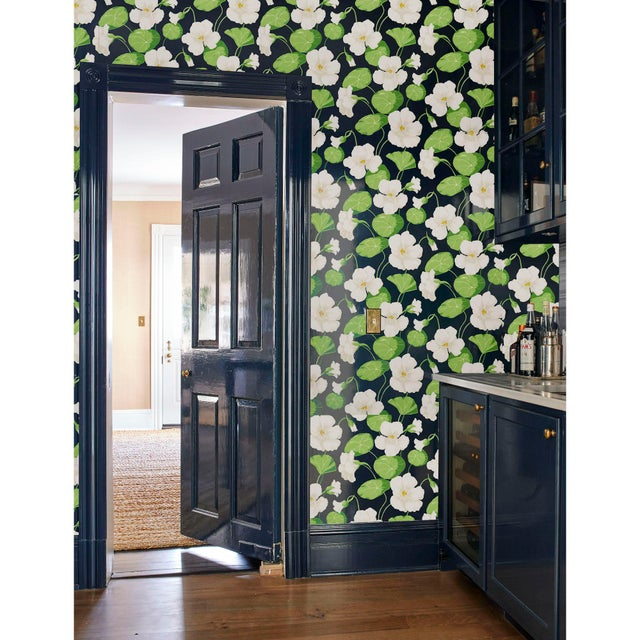 Early 21st Century Schumacher Nasturtium Wallpaper in Sky (8 Yards) For Sale - Image 5 of 6