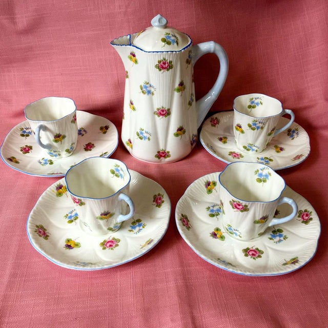 1990s Shelley Rose Pansy Forget Me Not Demitasse Coffee Service - Set of 5 For Sale - Image 9 of 9