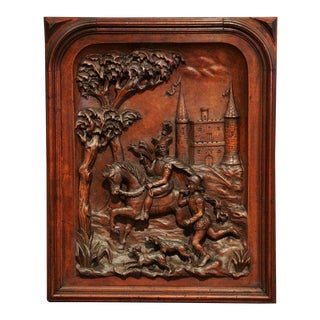 Large 19th Century French Carved Patinated Walnut Panel in High Relief For Sale