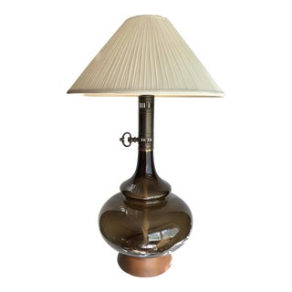 Mid 20th Century Olive Green Faux Oil Glass Lamp With Shade For Sale