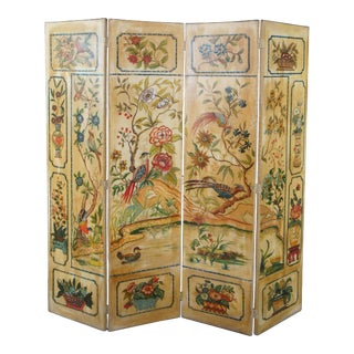 Mid Century 4 Panel Chinoiserie Folding Screen Room Divider For Sale