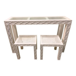 Chippendale Style Console Table & 2 Side Tables