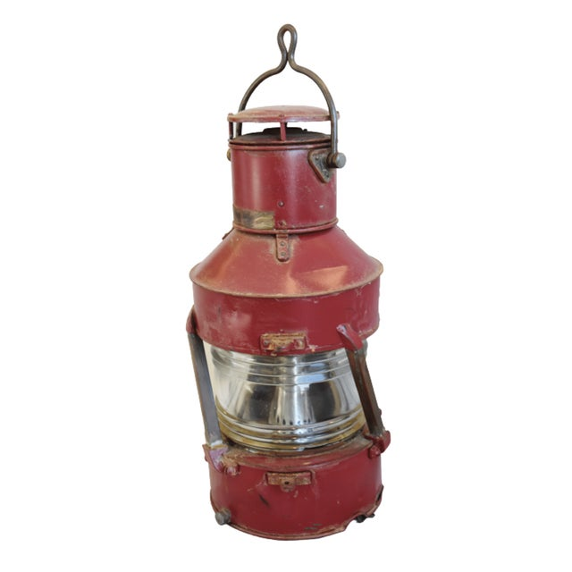 Large red-colored English antique authentic nautical ship's lantern. Included is the original kerosene burner/font that...