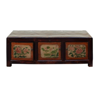 Vintage Chinese Orange Flower Graphic Low TV Console Cabinet