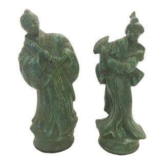Vintage Mid-Century Green Chinese Figurines - a Pair For Sale