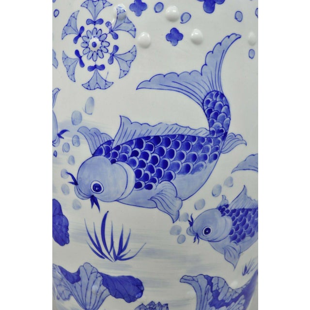 Early 20th Century Blue & White Koi Fish Porcelain Chinese Garden Stool For Sale - Image 5 of 12