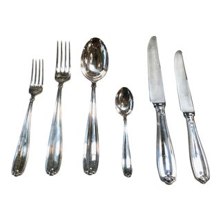 Vintage Sambonet Six Piece Set for 6 People in Chrome and Hard Bone , Italy 1950s - 40 Pieces For Sale