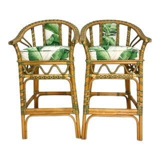 1970s Vintage Tropical Rattan Bar Stools - a Pair For Sale