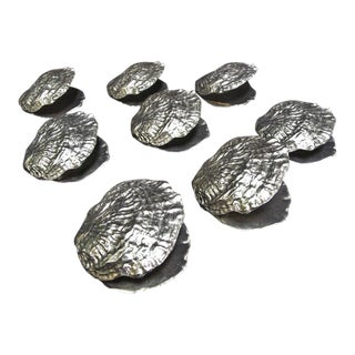 Vagabond House Sea and Shore Pewter Clam Shell Napkin Rings - Set of 8 For Sale
