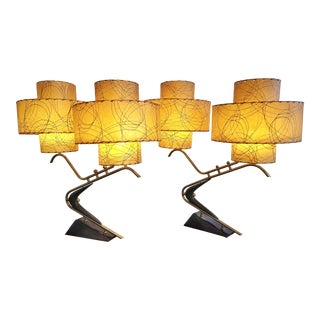 1950s Boomerang Table Lamps With Triple Level Fiberglass Shades (Pair) For Sale