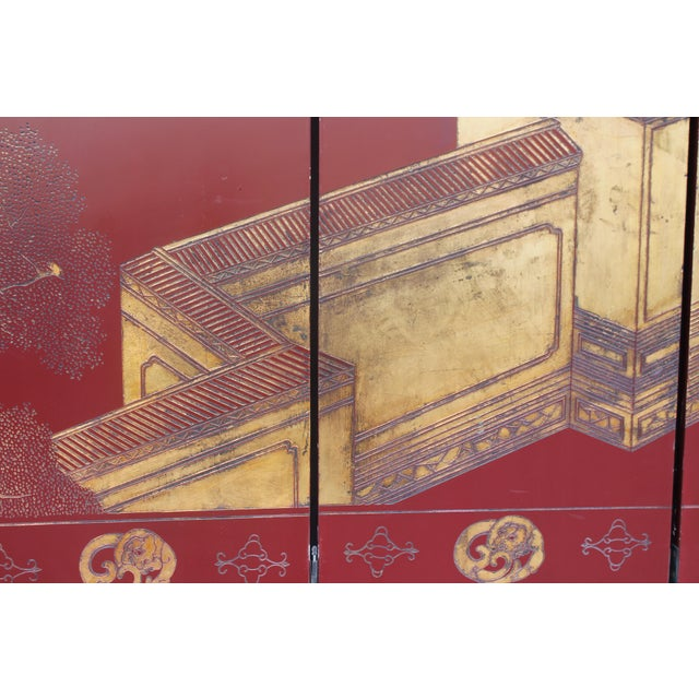 Antique Traditional 8-Panel Red & 24k Gold Asian Screen For Sale - Image 11 of 11