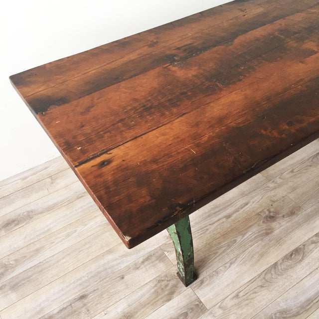 Cast Iron Base Reclaimed Wood Dining Table - Image 4 of 7