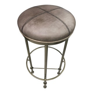 Rustic Dark Gray Leather Bar Stool For Sale