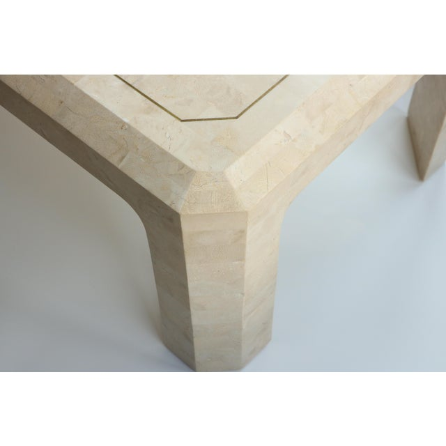 Gold Maitland-Smith Style Tessellated Coral Stone Coffee Table For Sale - Image 8 of 9