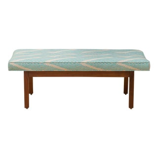 Geometric Upholstered Walnut Bench