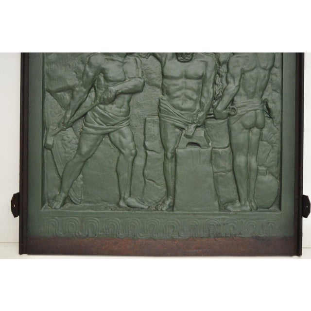 19th Century Art Deco Cast Iron Fireback Figural Foundry Worker Depiction For Sale - Image 4 of 13