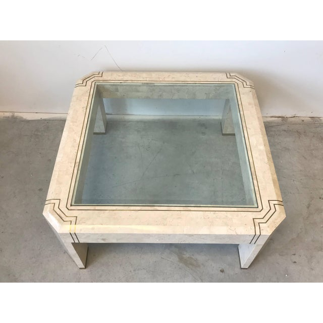 Hollywood Regency 1980s Maitland-Smith Tessellated Stone and Brass Inlay Coffee Table With Glass For Sale - Image 3 of 9
