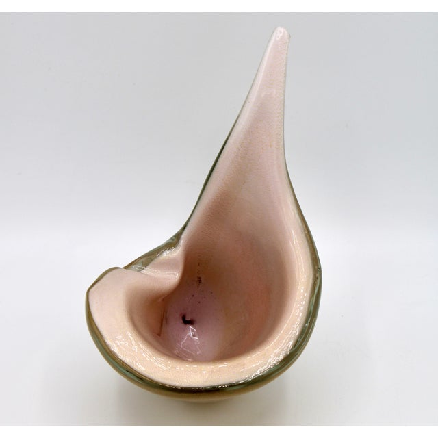 Glass Italian Murano Glass Conch Shell by Barbini For Sale - Image 7 of 13