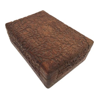 Anglo Raj Hand-Carved Decorative Box For Sale