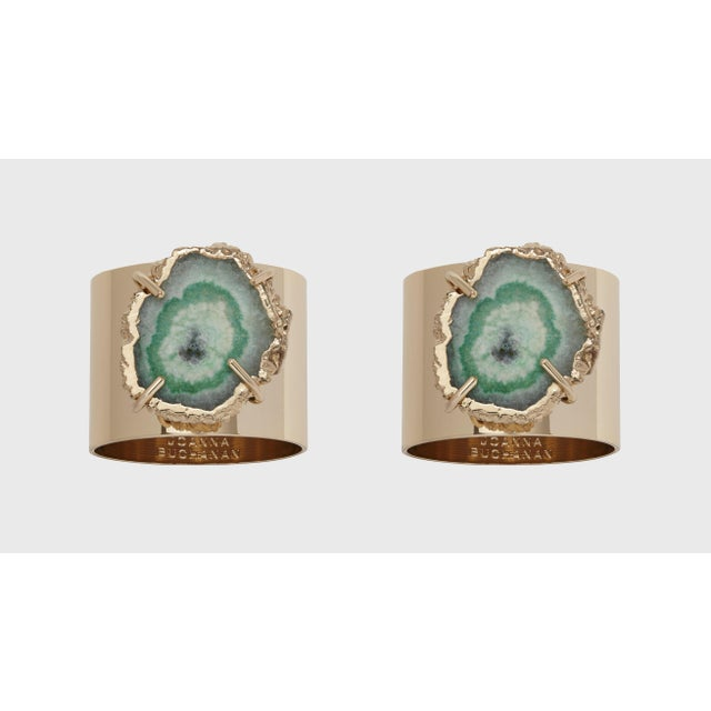 Gold Crystal Quartz Napkin Rings, Seafoam, Set of Two For Sale - Image 8 of 8