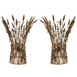 Italian Gilt Wheat Sconces - a Pair
