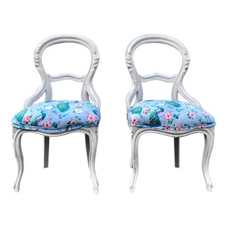 Early 19th Century Refurbished Victorian Balloon Back Chairs- a Pair For Sale
