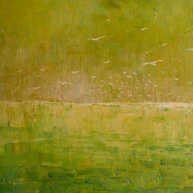 """1960s """"Flock of Seagulls"""" Abstract Oil Painting, Framed For Sale - Image 10 of 12"""