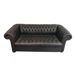 Vintage Blue Leather Tufted Sofa For Sale