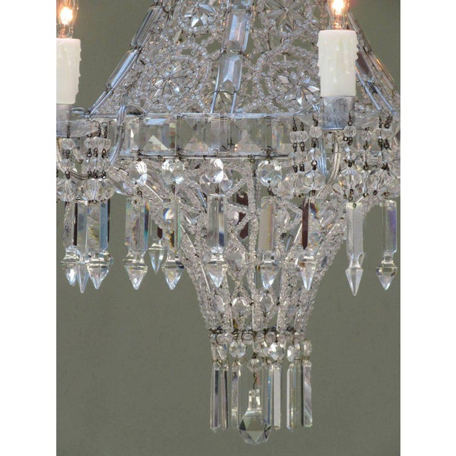 Early 20th Century Italian Neoclassical Crystal and Tole Chandelier For Sale - Image 5 of 8