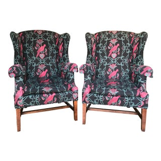 Vintage Lexington Furniture Wingback Chairs - A Pair