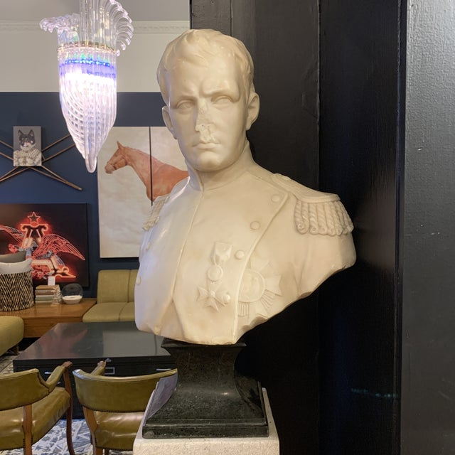 Napoleon Marble Bust W/ Granite Base For Sale - Image 10 of 10