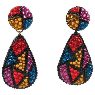 Richard Kerr Signed Dangle Clip on Earrings Multicolor Rhinestones Paved For Sale