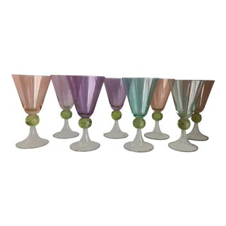 Hand-Blown Colored Glasses, S/8 For Sale