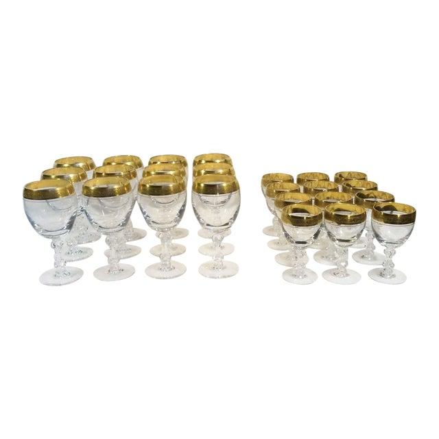 Holiday Sale!! Tiffin Franciscan Westchester 22k Gold Rim Stemware - 24 Piece Set For Sale