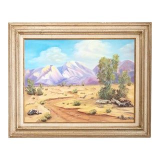 Vintage Desert Landscape Oil Painting For Sale