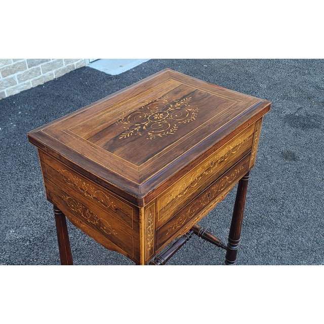 Antique English Regency Inlaid Rosewood 19th Century Sewing Work Table C1890 For Sale - Image 4 of 13
