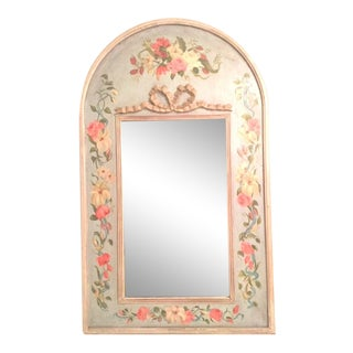 French Style Hand Painted Floral Wall Mirror