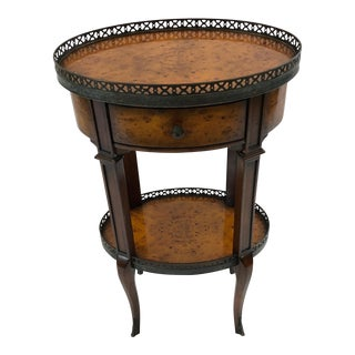 1980s Tradiitional Theodore Alexander Sophisticated Burlwood Two Tier Oval Side Table For Sale